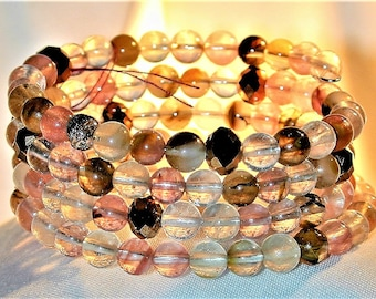Tourmaline & Bronze Glass Bead Wrap Bracelet OOAK