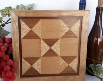 Framed Geometric and Mosaic Wall Art, Rustic Hourglass Quilt Block Wood Hanging