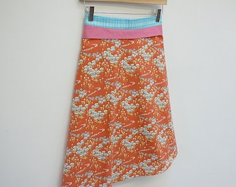 Tangerine A-Line Wrap Skirt with Turquoise Plaid Sash and Rose Pink Collar Trim, size S/M
