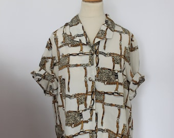 Vintage 1990's pattern shirt riding links