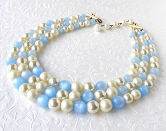 Vintage 3 Strand Beaded Necklace Faux Pearl Little Boy Blue Moonglow Bead Costume Jewelry Prom Wedding Bridal Prom Cocktail Prom Powder Sky