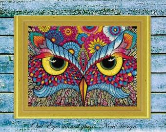 Owl Eyes stained glass - cross stitch pattern, cross stitch, cross stitch owl, owl pattern, owl cross stitch, PDF pattern - instant download