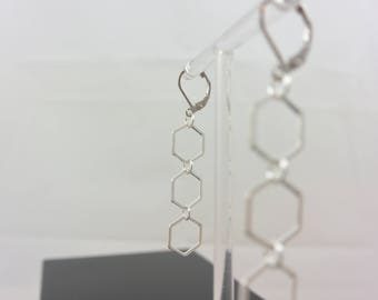 Triple Hexagon Silver earrings