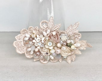Blush Hairpiece- Blush Hair Comb- Wedding Hair Accessories- Floral Hairpiece- Rose Gold Bridal Comb- Pearl Bridal comb- Blush Bridal Comb