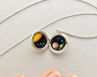 Tiny Solar System Sterling Silver Locket, Oil Enamel Miniature - Paintings Currently in Progress