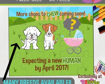 Dog Personalized Pregnancy Announcement Puzzle - Dog Pregnancy Announcement Puzzle - New Human Announcement - MANY BREEDS AVAILABLE
