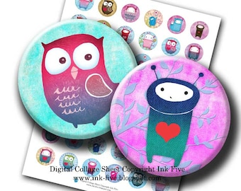 Cute Strangers 1 inch circles Whimsical sweet creatures owl bottlecaps printables. Digital collage sheet for bottle caps. Hearts cuties