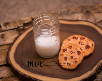 Cookies and Milk Prop - with Mason Jar - Decoration - Holiday - Santa Prep - Felt Cookies - Prop Milk - Photography Prop - Home Decoration