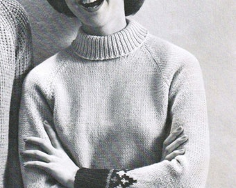 Women's Patterned Pullover with Turtle or Crew Neck Knitting Pattern PDF / Sizes 14 16 18 20 / Knitted Pullover pattern / Turtleneck pattern