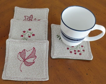 Flower and Leaf Theme Embroidered Fabric Coasters, Set of 4 Coasters, Burgundy & Green, Reversible