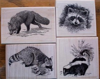 Lot of 4 Brand New Mounted Rubber Stamp  - FOREST ANIMALS