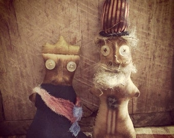 Red,White&BlueSale Primitive Doll, Americana Uncle Sam and Liberty