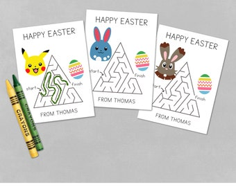 Pokemon Inspired Easter Cards ft. Bunnelby Pikachu Azumarill | Editable Name Field | INSTANT PDF DOWNLOAD