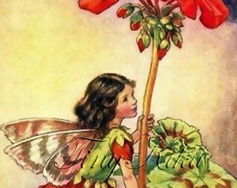 GERANIUM FAIRY, Vintage - Cicely Mary Barker.  Art Print, Fabric Block, Heat Transfer or Waterslide Decal.  Size Options.