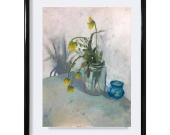 Dried Flower Arrangement, Original oil and pencil painting on BFK rives paper