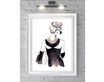 Fashion Illustration Watercolor Painting Print 'Audrey' -- Home/office decor and wall art, Fashion prints