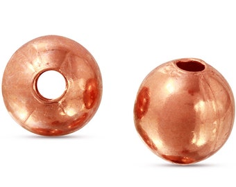 50 Pcs 6.3 mm Copper Round Beads (CP5201106)