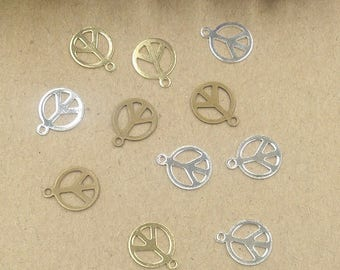 Set of 6 multicolored ref FP100 peace charm
