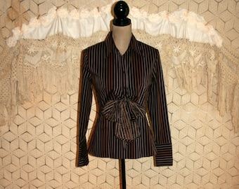 Long Sleeve Brown Shirt Pinstripe Blouse Layered Top Button Up Bow Tie Waist Womens Blouses Women Tops Size 8 Medium Vintage Womens Clothing
