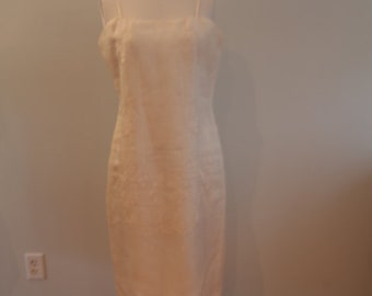 White Formal Dress with Machine Embroidery