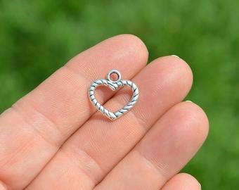 10  Silver Open Heart Charms SC3574