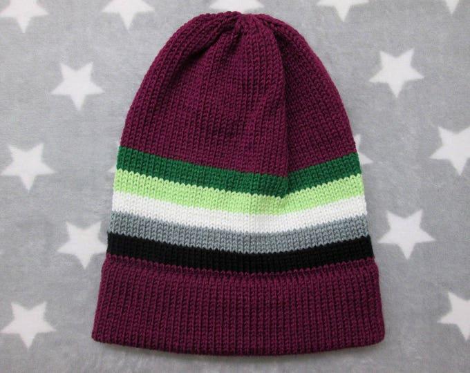 Knit Pride Hat - Aromantic Pride - Magenta Slouchy Beanie