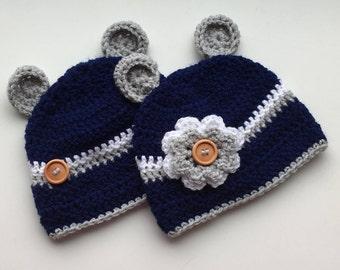 Twin baby hats, twin baby beanies, twin shower gift, twin baby gift, matching twin hats, matching twin beanies, girl, boy twins, bear ears.