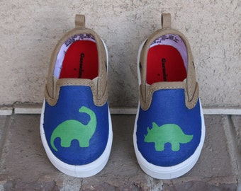 HAND PAINTED DINOSAUR Shoes, boy shoes, Baby/Toddler, Child/Youth, and Womens Sizes