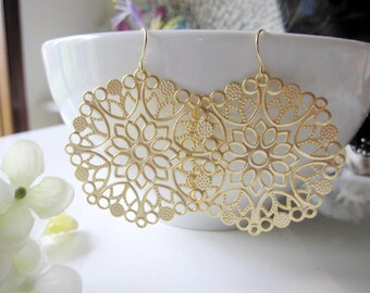 Gold Chandelier Hoop Earrings,  Extra Large Gold Earrings, Gold filigree, Large Round Pendant, Tribal, Gold Statement Earrings