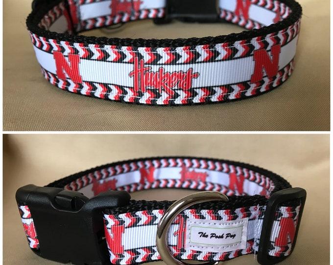 """Handmade Nebraska Fan 1"""" Adjustable Dog Collar - MEDIUM"""