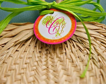 Wedding Favor Fan Tags - Tropical Palm Tree Tags - 2 inch Round tags - Beach Wedding Thank you tags