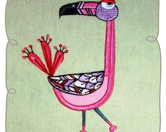 Flirty Flamingo Applique Machine Embroidery Design Pattern-INSTANT DOWNLOAD