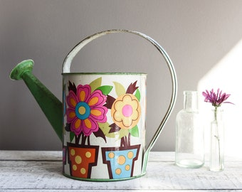 Vintage Enamel Watering Can, 1960s Mod, Gardening Tools and Supplies, Mother's Day Gift