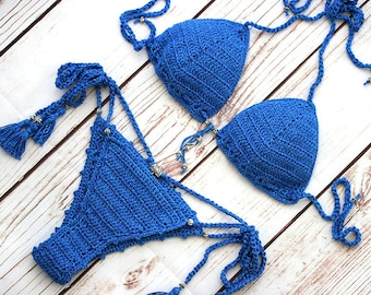 Sexy Crochet bikini set in royal blue, Crochet bikini top, Crochet swimsuit, Bathing suit women, Crochet bikini set,Tong bikini, Boho bikini