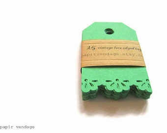 St.Patrick's Day Green Tags, Vintage Lace Green Tags,  Green gift tags, green gift tags, Vintage lace edge tags , Holiday gift tags