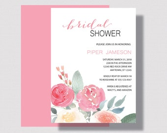 BRIDAL SHOWER INVITATION Pink and Coral Floral, Bridal Shower Invitation Printed or Printable, Summer Bridal Shower, Pink and Coral Wedding