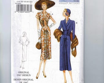 REPRODUCTION Misses Sewing Pattern Vogue V9126 9126 1947 1940s 40s Style Pullover Dress Gathered Front Size 6 8 10 12 14 16 18 20 22 UNCUT