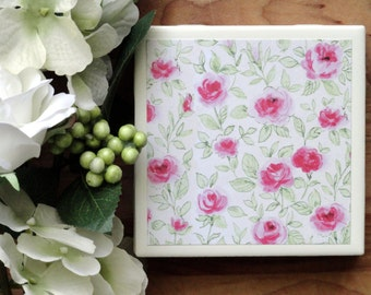 Ceramic Coasters - Ceramic Tile Coasters - Coaster Set - Table Coasters - Floral Coasters - Coaster - Tile Coaster - Coasters for Drinks
