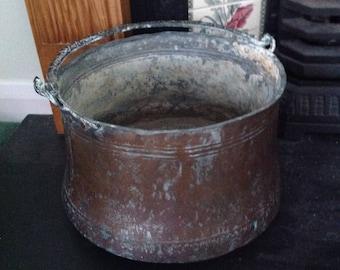 Turkish Copper Pot, Fireside Pot With Handle, Antique Pot