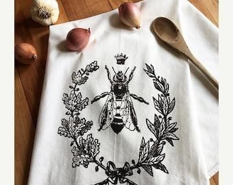 ON SALE Queen Bee Dish Towel, Trending Now, Bee Keeper, Teachers Gifts 2017, Bee Keeper Gift, Gift Exchange, Hand Printed Tea Towel, Dark Br