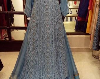 Indian Pakistani party wear Light blue long dress kurta with lehenga skirt/ lucknowi suit and lehenga