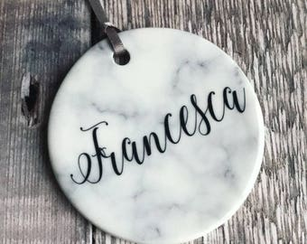 Personalised Christmas Name Marble Style Ceramic Decoration Christmas Gift Keepsake Tree Ornament Bauble Decoration