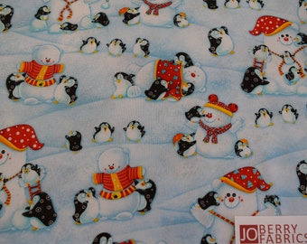 Penguins from the Penguin Parade Collection by Nidhi Wadhwa of Blue Fish Designs for Henry Glass, Quilt or Craft Fabric, Fabric by the Yard.