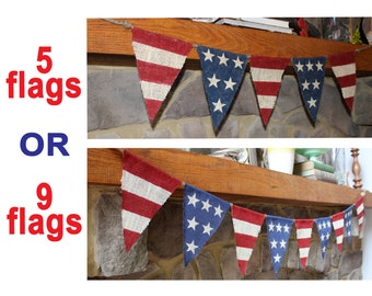 YOUR CHOICE Patriotic American Flag Stars Stripes Burlap Banner Bunting Sign Flags Red White Blue Military Veterans July 4th Memorial Day