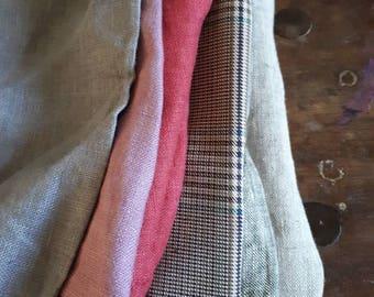 LINEN+ COTTON fabric / remnants / 10 pieces