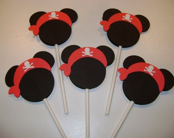 12 Disney PIRATE Mickey Birthday CUSTOM Cupcake Toppers