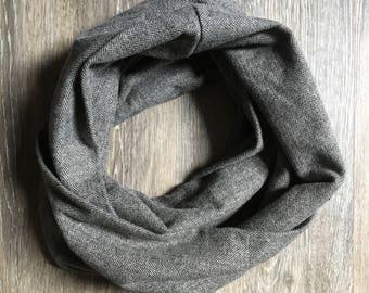 Gray herringbone infinity scarf, herringbone scarf, scarf, inifity scarf, gray scarf, gender neutral scarf