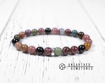Tourmaline Bracelet - Yoga Jewelry, Colorful Bracelet, Healing Crystal Bracelet, Birthstone Jewelry, Tourmaline Jewelry