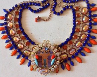Egyptian revival bib statement necklace,Thûtankhamon young Pharaoh ,czech rhinestones   ,and pearls.