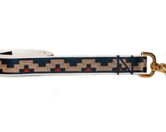 Blue modern dog leash, geometric print, tribal dog, brass hardware